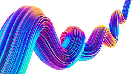 3D Liquid design twisted shape in holographic neon colors for Christmas backgrounds Stock Photo