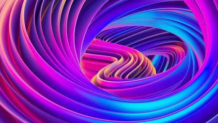 Fluid design twisted shapes holographic 3D abstract background iridescent wallpaper Stock Photo