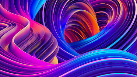 3D rendering abstract background. Fluid shapes design. Shiny wrapping foil. Twisted shapes in motion. Festive holographic backdrop. 3D rendering. Stock Photo