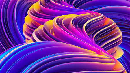 Background with abstract waves. Holographic gradient shapes composition. Modern abstract cover. Liquid curved shapes. 3D rendering.
