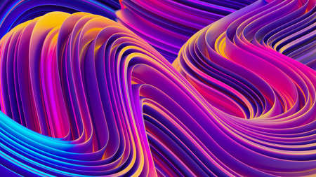 Bright holographic fluid shapes 3D abstract background