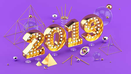 2019 Happy New Year isometric 3D illustration for poster or greeting card design.