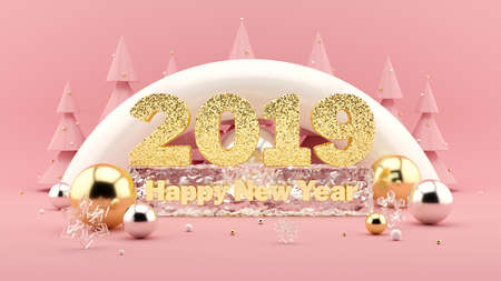 2019 Happy New Year Wish 3D composition in millennial pink colors. Large sparkling gold numbers 2019 and Happy New Years Wish frozen in ice. Christmas trees with decorations around. 3d rendering. Stock Photo