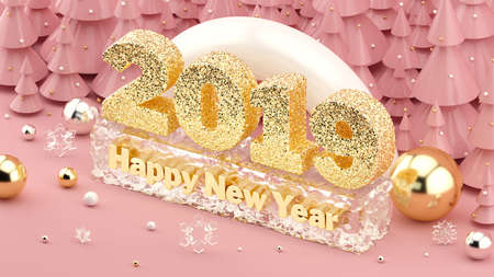 2019 Happy New Year isometric 3D illustration in millennial pink colors with shiny gold numbers 2019. Happy New Year frozen in ice. Christmas trees with decorations on the background. 3d rendering.