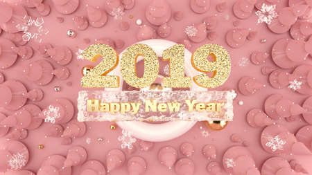 Happy New Year 2019 background with decorated christmas trees, falling snowflakes and 2019 gold numbers.