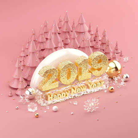 Rose Gold isometric 3D illustration with 2019 Happy New Years Wish