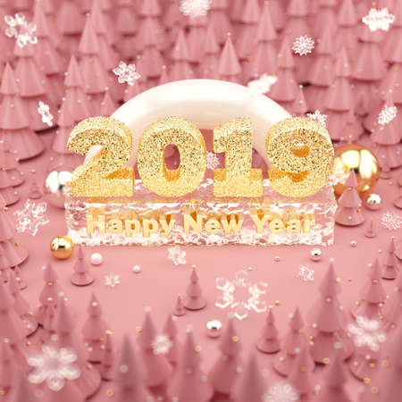 Happy New Year 2019 Rose Gold colored 3D illustration with Christmas trees