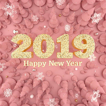 Rose Gold Happy New Year 2019 top view 3D illustration Stock Photo
