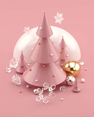 Rose Gold 3D illustration with decorated Christmas trees and snowflakes