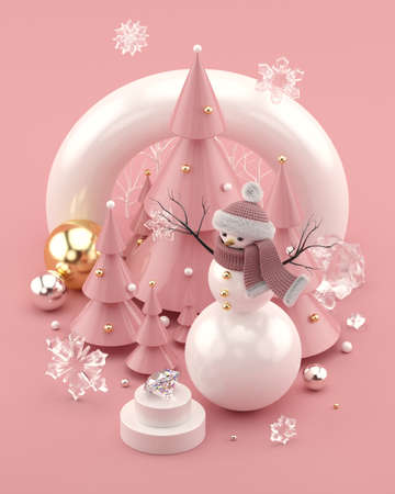 Rose Gold 3D illustration with snowman and decorated Christmas trees