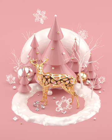 Rose Gold Christmas illustration with golden deer decorated Christmas trees and snowflakes
