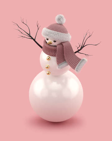 Christmas snowman in a knitted hat and scarf Stock Photo
