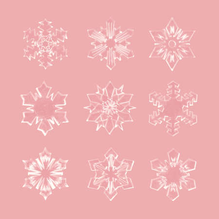 Realistic Christmas snowflakes set isolated on rose gold background