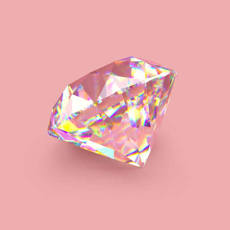 Shiny sparkling realistic diamond on rose gold background