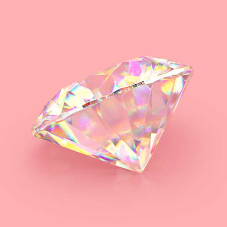 Shimmering shiny sparkling realistic diamond on pink background. Scratches and imperfections on the surface. 3D rendering. Stock fotó