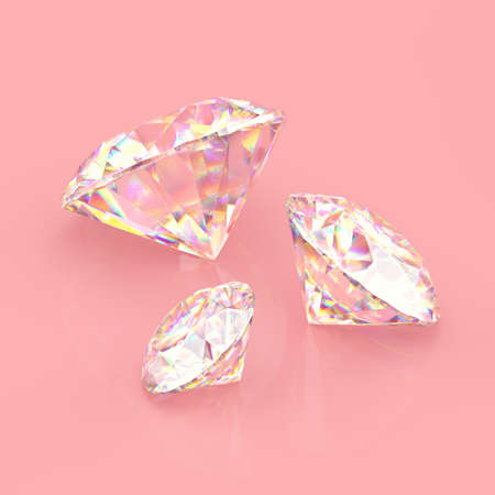 Three round Sparkling diamonds. Scratches and imperfections on the surface. 3D rendering. Stock fotó