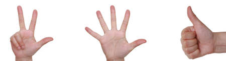 Primer plano de las manos aisladas en fondo blanco Foto de archivo