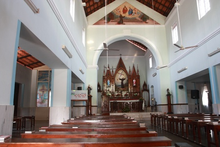 Country church interior, India, Goa.