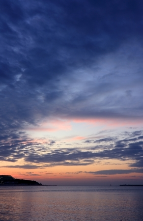 Dramatic evening sky on the sea. Black Sea, Russia, Gelendzhik.