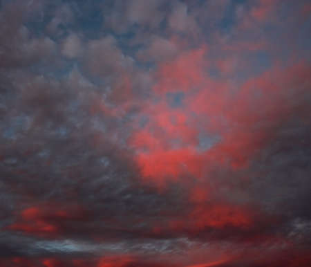 Sunset after the storm. Stormy clouds on spring evening. Stock Photo