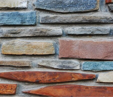 Ancient stone wall as background  Stones in a row  Stock Photo
