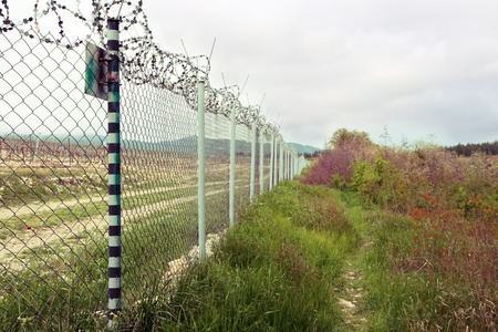 concertina: Fence with barbed wire. Concertina wire atop a fence protect in the nature.