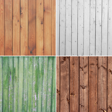 Four different wooden texture. (high.res.) Backgrounds of weathered wooden plank.