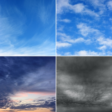 diferent: Morning, day, evening and stormy sky (high.res.) Four diferent images of sky.