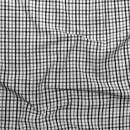 Background checkered picnic blanket. Striped crumpled tablecloth.  Stock Photo