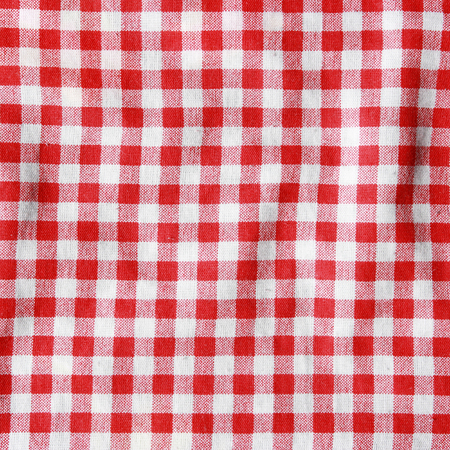 crumple: Crumple texture of a red and white checkered picnic blanket  Red linen tablecloth