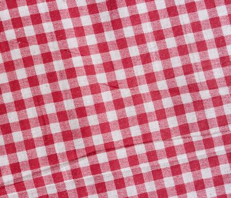 scrunch: Red and white checkered texture. Red linen tablecloth. Stock Photo