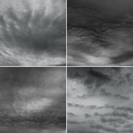 gloom: Stormy sky high.res. Four diferent images of cloudy sky. Stock Photo