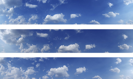Three sky panoramas, high res. Blue sky and white clouds over horizon. Stock Photo