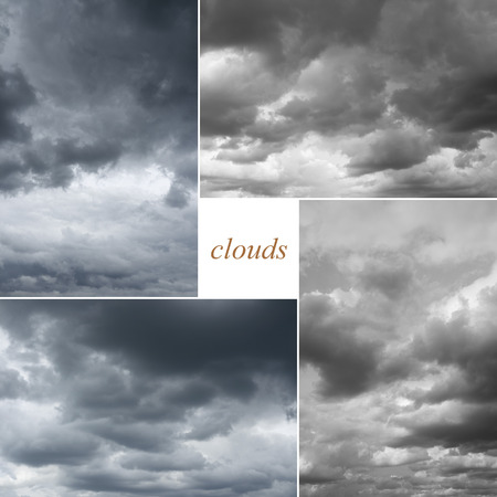 mp: Storm rainy sky. Four image of cloudy sky, every photo 6 MP, 3000 x 2000. Thunderclouds over horizon.