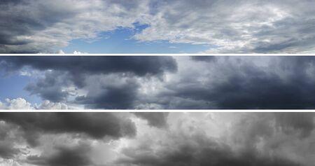 dark sky: Three panoramas of cloudy sky over horizon. Storm, rainy sky. Thunderclouds. Stock Photo