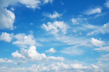 clouds: Blue sky and clouds. Beautiful cloudscape over horizon. Stock Photo