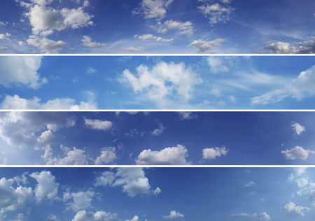 Four sky panoramashigh quality. Blue sky and white clouds over horizon.