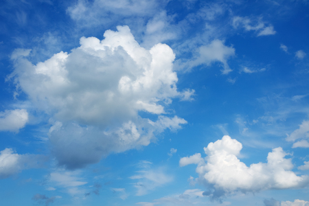 azure: Beautiful cloudscape over horizon. Blue sky and clouds.