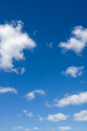 Heaven. Blue sky and clouds. Beautiful cloudscape over horizon.