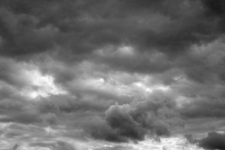 over the horizon: Thunderclouds over horizon. Rain, cloudy sky background.