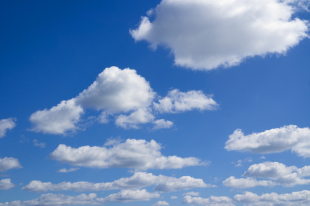 Heaven. Beautiful cloudscape over horizon. Blue sky and clouds.