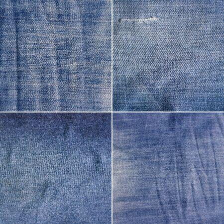 scrunch: Four blue denim jeans texturehigh res. Jeans background.