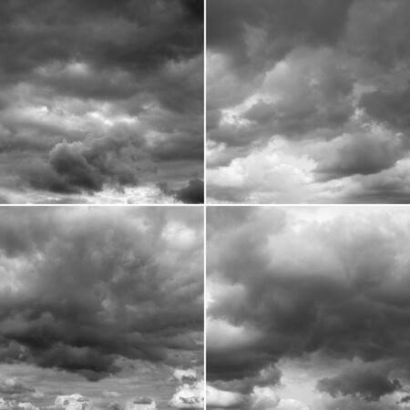 over the horizon: Four images of thunderclouds. Storm sky, rainy clouds over horizon. Stock Photo