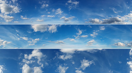 Three beautiful sky panoramas, cloudscape over horizon. Blue sky and clouds, heaven. Stockfoto