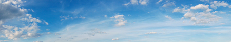 over the horizon: Panorama, beautiful cloudscape over horizon. Blue sky and clouds, heaven.