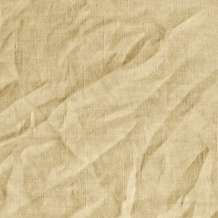 scrunch: Beige canvas with delicate striped pattern, crumpled. Fabric texture, background. Stock Photo