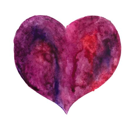 malady: Hand drawn watercolor picture of a heart. Heart isolated on white. Stock Photo
