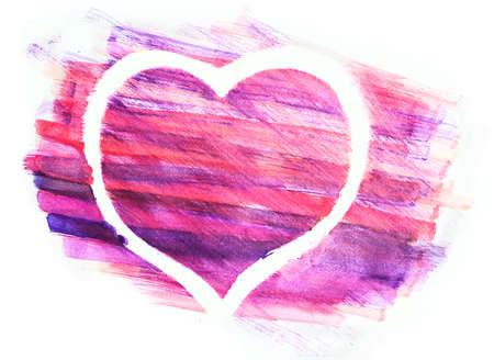 aquarelle: Hand drawn watercolor picture of a heart. Aquarelle heart painted on white paper. Stock Photo