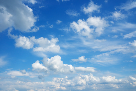 sky and clouds: Beautiful cloudscape over horizon. Blue sky and clouds.