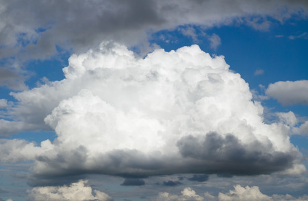 over the horizon: One big cloud before a thunderstorm. Cloudy sky over horizon.